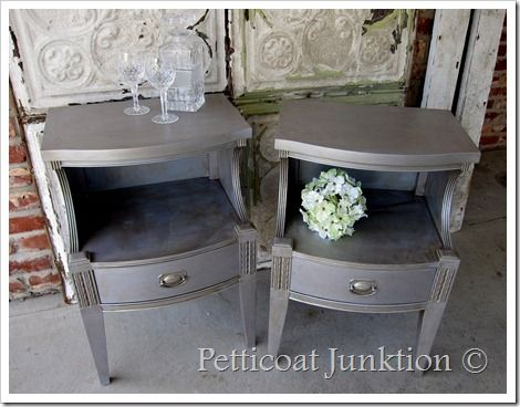 painted-metallic-silver-nightstands-furniture-diyDiy Ideas, Decor Ideas, Painted Furniture, Petticoats Junktion, Painting Furniture, Metals Silver, Silver Painting, Martha Stewart, Tables Makeovers