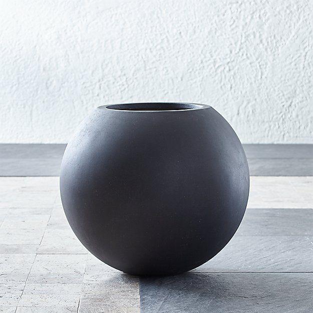 Sphere Small Dark Grey Planter Planters Crate Barrel 400 x 300