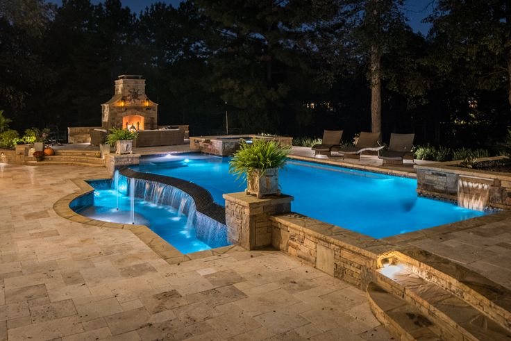 Swimming pool and outdoor living space designed and built by Georgia Classic Pool