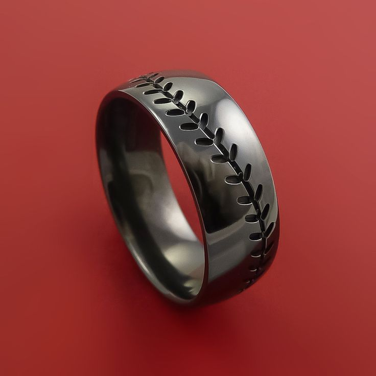 Fully Customized Baseball Ring. Choose Metal Type, Metal Finish, Stitching Color, Width, Size and Custom Engravings.
