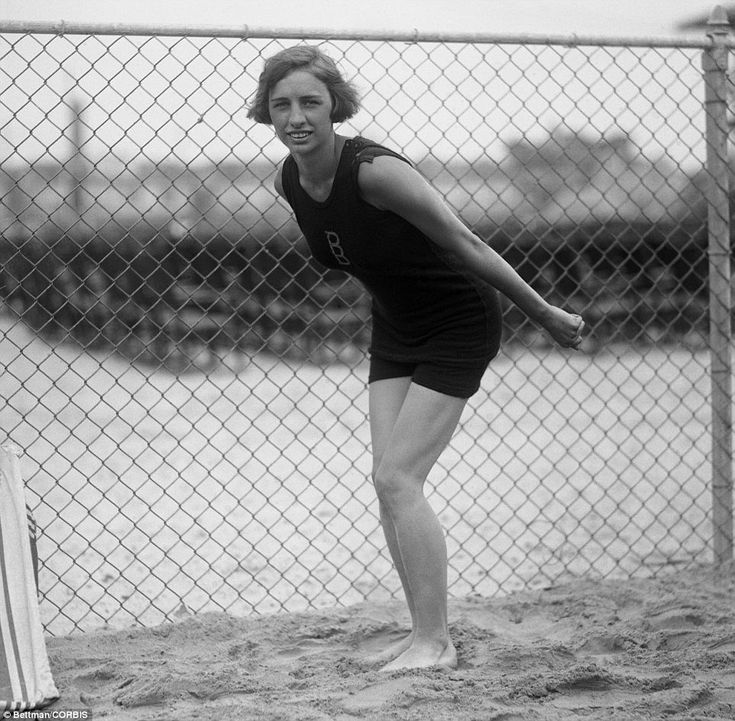 True Blue: Miss Sybil Bauer poses for a photo after setting four new world's records and one New American record at the Brighton Beach Pool on July 4, 1922