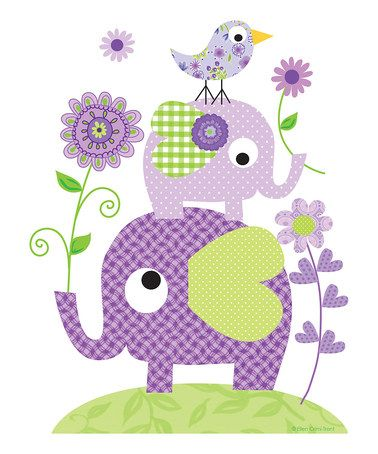 Take a look at this Purple Elephant & Flower Print by Ellen Crimi-Trent on #zulily today!