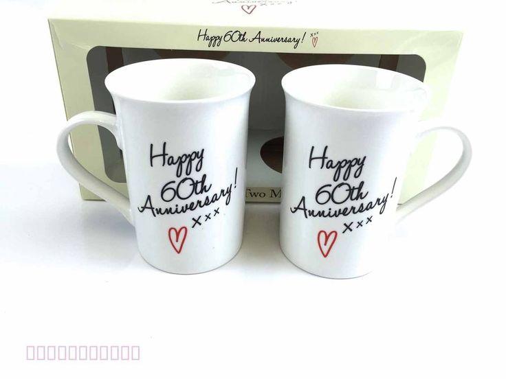 Happy Anniversary 60th Diamond Wedding Mugs Cups Gift Set Box Present Ideas