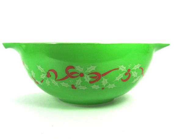 Rare Pyrex Merry Christmas and Happy New Year Bowl  #443 2 1/2 Quart