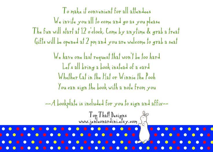 baby shower invitation poem. open house wording back of invitation,