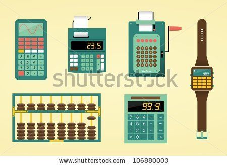 Cute calculators, adding machine, abacus and watch - stock vector