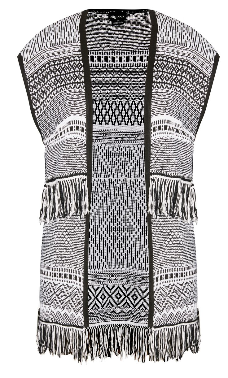 City Chic - FRINGE AZTEC CARDI - Women's Plus Size Fashion City Chic - City Chic Your Leading Plus Size Fashion Destination #citychic #citychiconline #newarrivals #plussize #plusfashion