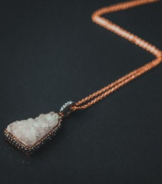 White Crystal Pendant with Gold Chain