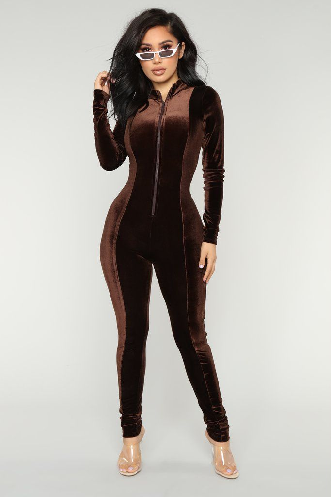 3f8c5aba22 Chocolate Dream Velvet Jumpsuit - Brown in 2019