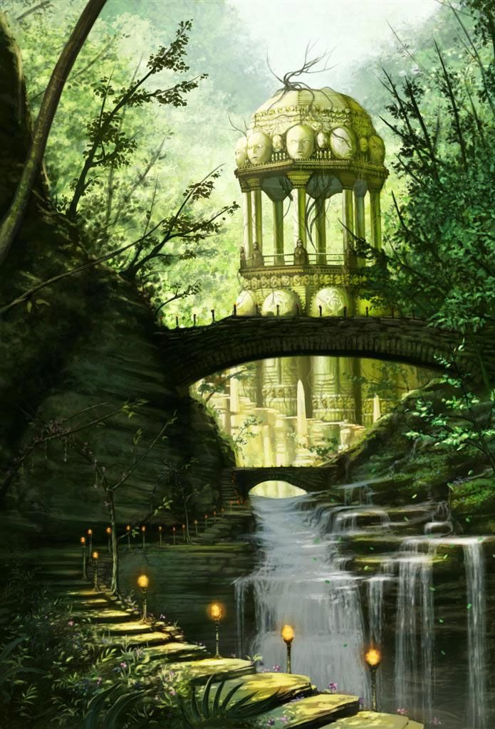 Fantasy Landscapes & Scenery  -this counts as fine art right? this isnt from a video game or anything.   i have no idea what this is supposed to be but i like it. i always like green, so an artwork with 800 different types of green gets my attention.