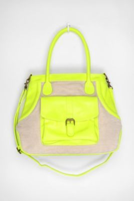 Mixed Media Tote Bag: Urban Outfitters, Neon Bags, Bright Color, Neon Green, Totes Bags, Mixed Media, Work Bags, Medium Totes, Neon Yellow