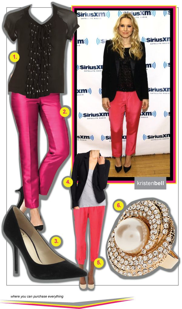 New Blog Post: #KristenBell in hot pink pants & classic pumps and how to get the look: http://www.richesforrags.com/2012/01/liar-liar-on-fire-kristen-bel-star-of.html