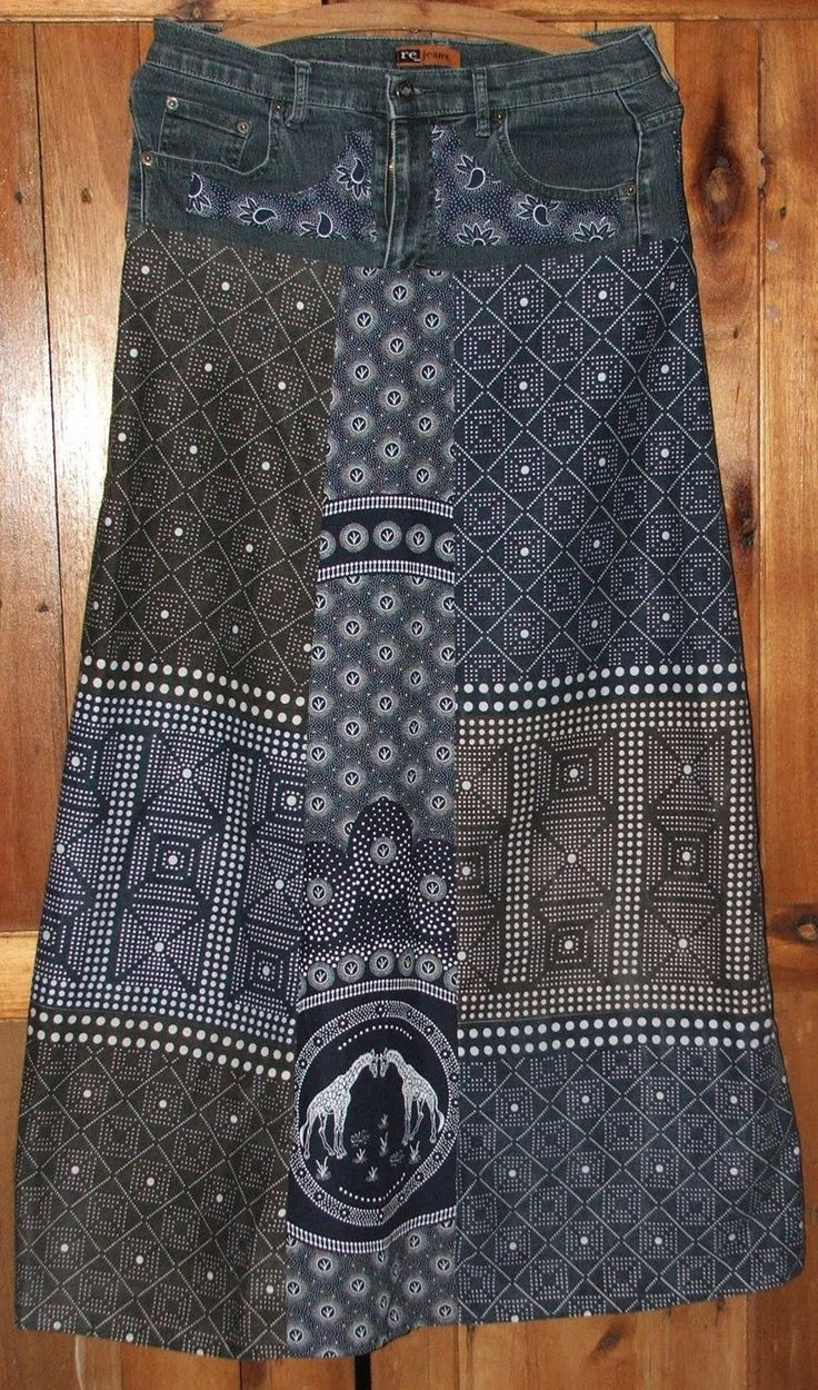 A skirt I made from an old pair of jeans and Shweshwe.    I used two different Shweshwe designs
