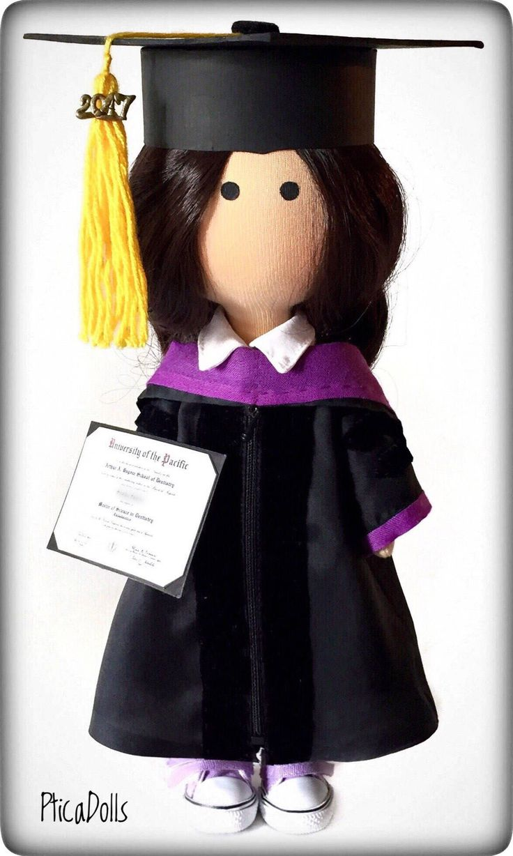 Graduation portrait doll in dress and cap with tassel. High school college student present. Graduation party decorations. Back to school