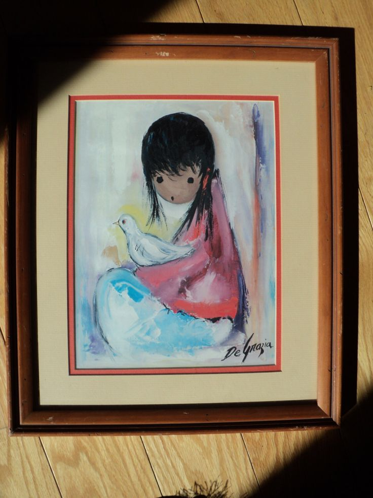 "Vintage DeGrazia Lithographic Print from the original oil painting called ""The White Dove"" as seen in The DeGrazia Gallery in The Sun, AZ by RRGS on Etsy https://www.etsy.com/listing/158091180/vintage-degrazia-lithographic-print-from"