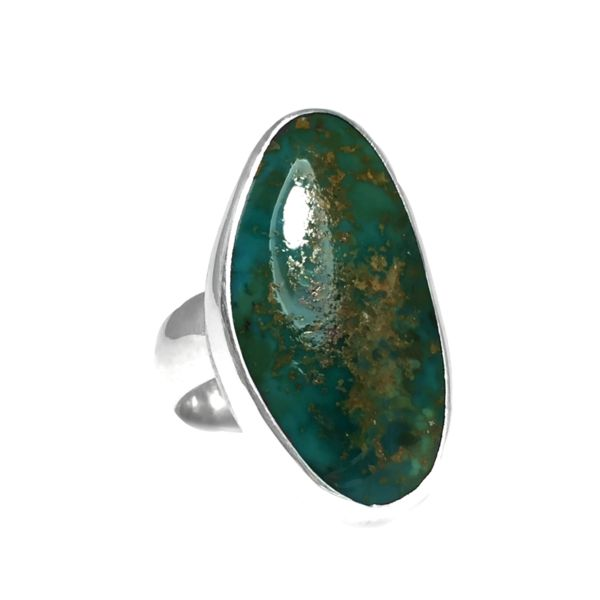 Chunky Sterling Silver Boho Turquoise Ring Size 6.5 | Paradise Nevada Natural Stone - Retailite