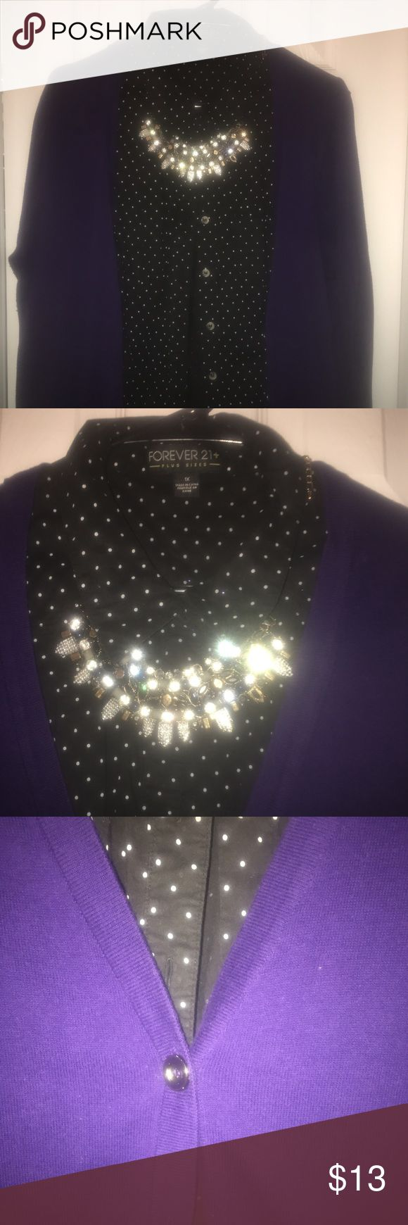 Double the style! Another great paired duo. Black and white polka dot forever 21 1x button down with a purple Forever 21 1x cardigan is the definition of cute style on the go! Every fashionista needs this great transitioning piece to take you from the office to happy hour! Goes great with a skater skirt and fishnets and booties ! Plus, pieces can worn together or separate. Win! Forever 21 Sweaters Cardigans