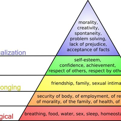 maslow's hierarchy of needs and frankenstein The hierarchy of needs is a theory of human motivation, proposed in 1943 by psychologist abraham maslow, that says human beings have layers of needs: physiological, safety, belonging, esteem, and .