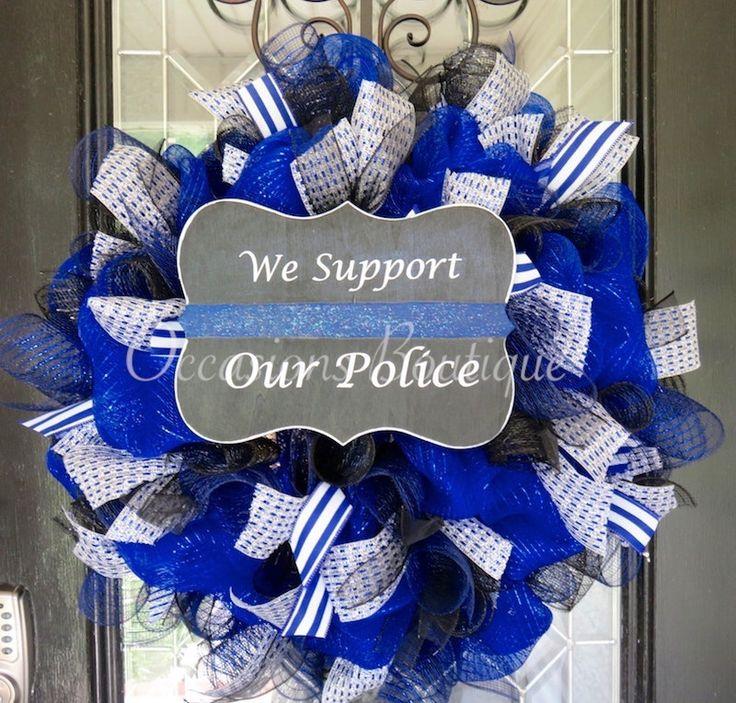Police wreath, Law Enforcement, Support Wreath, Front door wreath, Wreath for Door, XL Wreath by OccasionsBoutique on Etsy