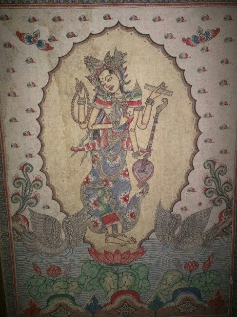 Dewi Saraswati in an old traditional Balinese Kamasan painting.               # Saraswati #Balineseart    www.kulukgallery.com