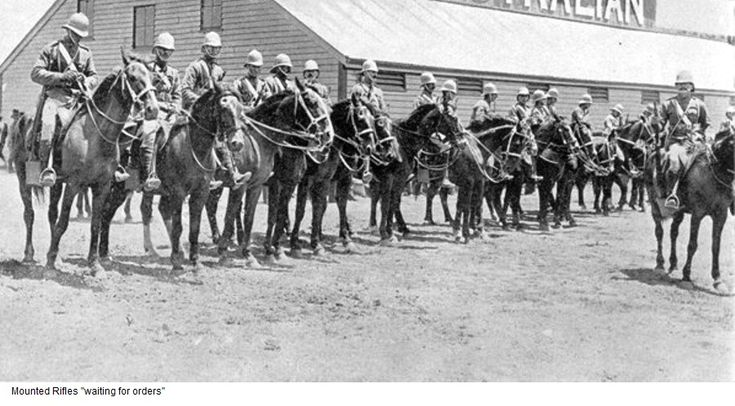 NSW Mounted Rifles waiting for orders On 28 May 1900 Johannesburg surrendered, with New South Wales and South Australian Mounted Rifles in the thick of the fighting.