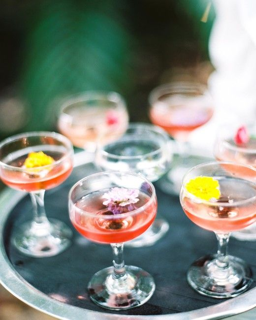 20 Tips for Throwing the Ultimate Spring Wedding | Martha Stewart Weddings - Your menu deserves some spring inspiration, too. May we suggest floral cocktails (like these ones at a Bill Hansen Catering event), or other refreshing signature drinks? #weddingcocktails #weddingideas #springwedding