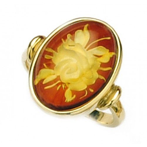 9ct Carved Flower Amber Ring. gerrim.com