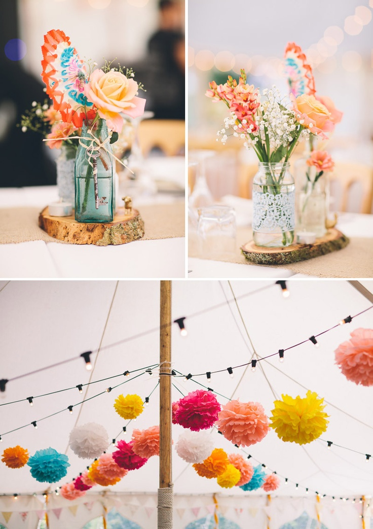 Lovely bright pops of colour with the tissue-paper pom-poms!