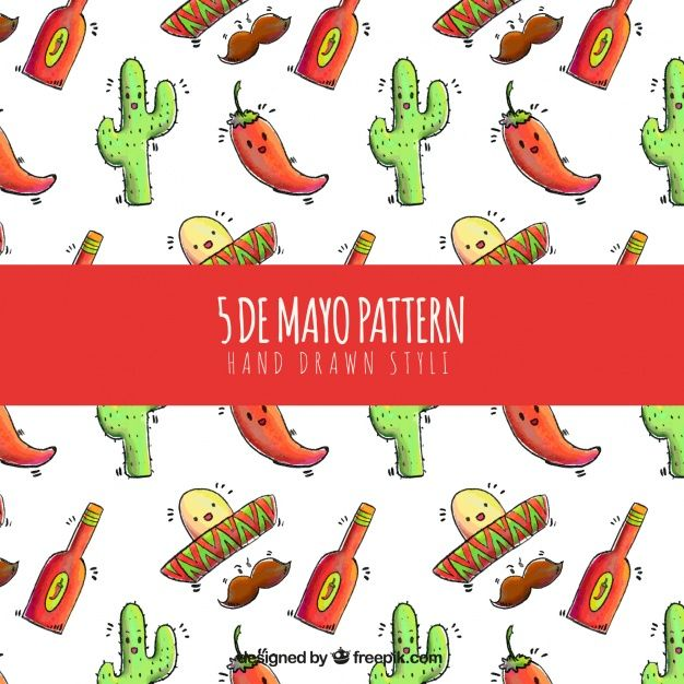 Pattern of mexican nice elements Free Vector