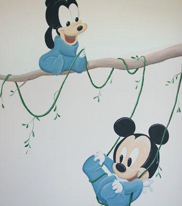 disney baby goofy en mickey muurschildering