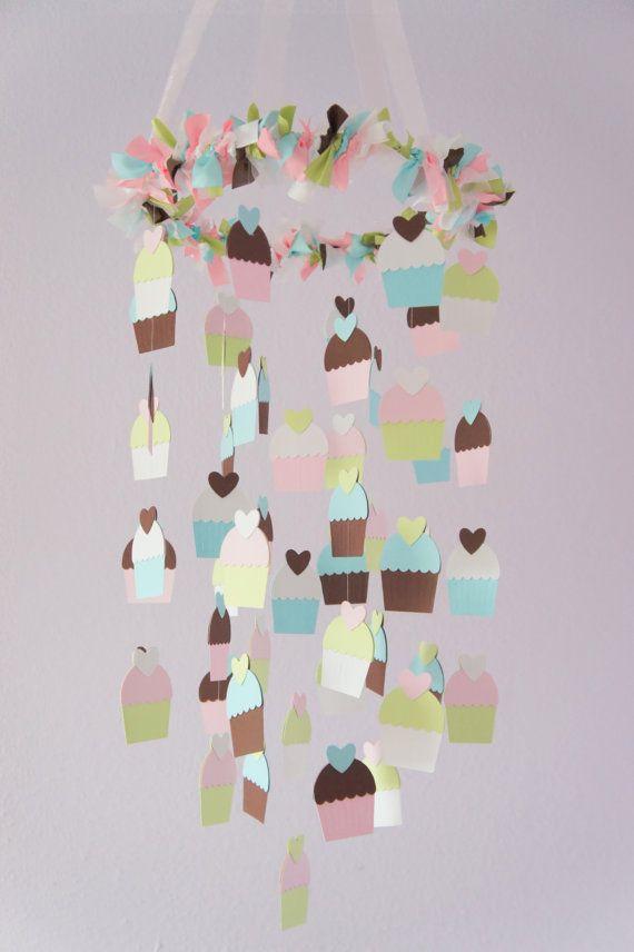 Etsy の Cupcake Nursery Mobile Nursery Decor by LovebugLullabies