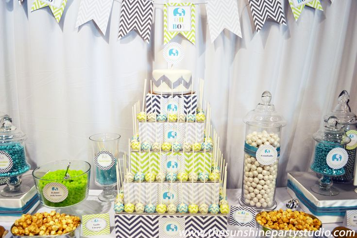 23 best baby boy shower elephants images on pinterest elephant baby showers elephants and - Baby shower chevron decorations ...