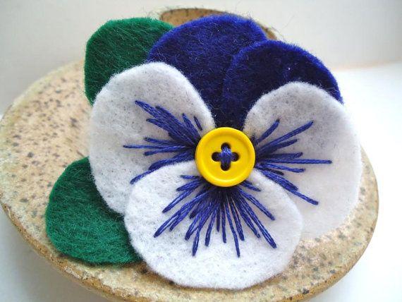 Blue Felt Flower Pin, Pansy Flower Brooch, Floral Pin, Felt Jewelry