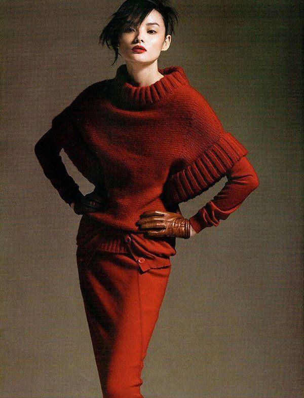 max mara, advertisement, photography, skirt, long sleeves, sweater, beautiful, model, style, warm, fashion, red orange