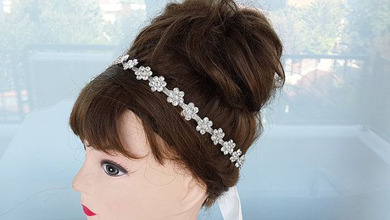 Silver Rhinestone Daisy Flower Headband Bridal Sash by nezoshop, $26.00
