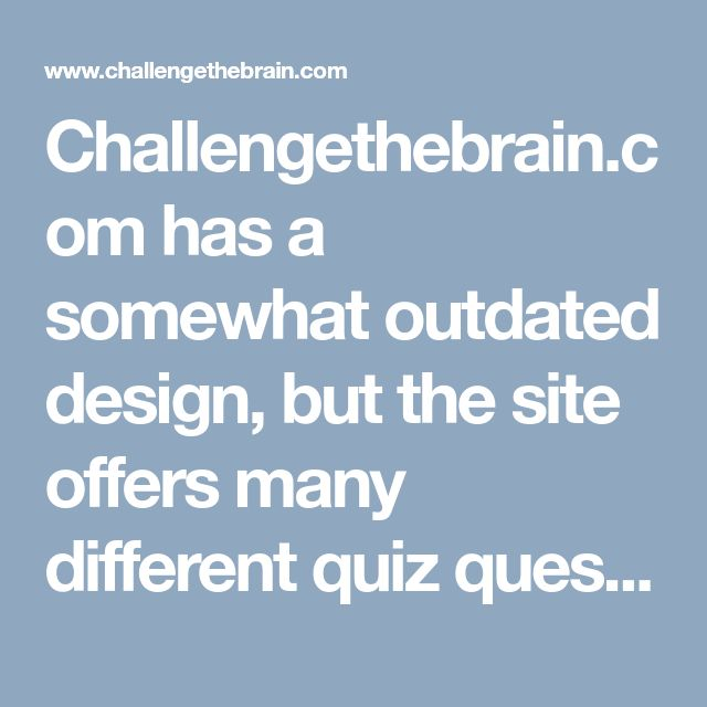 Challengethebrain.com has a somewhat outdated design, but the site offers many different quiz question categories to choose from, including subcategories such as Movie Quizzes > Disney Movie Quizzes. A disadvantage, however, is that the quiz questions and quiz answers are on separate website pages. QUESTIONS AND ANSWERS QUIZ ***