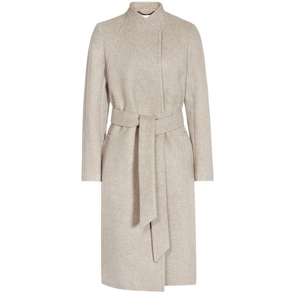 Reiss Elias Collarless Coat (£135) ❤ liked on Polyvore featuring outerwear, coats, oatmeal, reiss coats, collarless wool coat, tie belt, pink collarless coat and woolen coat
