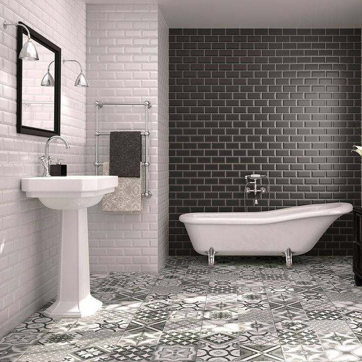 Black And White Metro Tiles With Mosaic Style Flooring (Galena Part 57