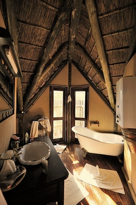 Bathroom at the Deception Valley Lodge in Botswana