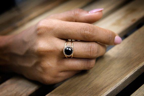 ZOMER SALE zwarte onyx ring rose gouden ring door AnemoneJewelry
