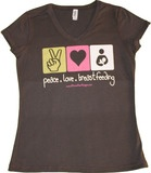 Peace. Love. Breastfeeding. (T-shirt) Definitely getting this for volunteering at the Lactation Station at the Fair. And 50% off now, celebrating World Breastfeeding Week Aug 1-7.