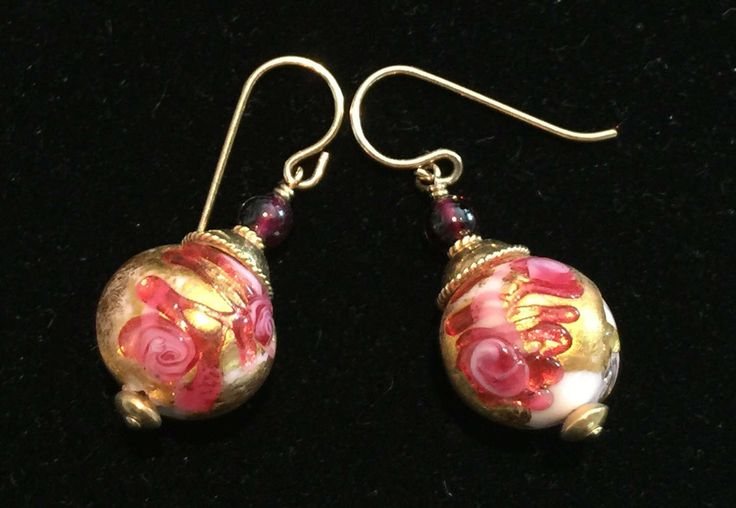 Murano Glass earrings with Pink Fern pattern by MuranoBling on Etsy https://www.etsy.com/au/listing/507004942/murano-glass-earrings-with-pink-fern