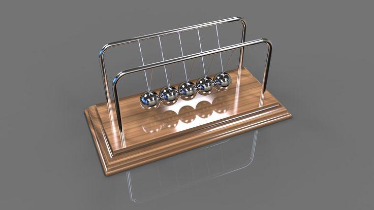 LE PENDULE DE NEWTON........SOURCE GRABCAD.COM.........D'ailleurs le choix de l'acier pour les billes n'est pas anodin. Ce matériau très rigide permet aux billes de se comprimer que faiblement lors d'une collision et réduit le temps de contact entre les deux billes. Ainsi les billes en acier font plus facilement fonctionner le pendule de Newton dans le cas de collisions binaires que nous avons décrit précédemment.......