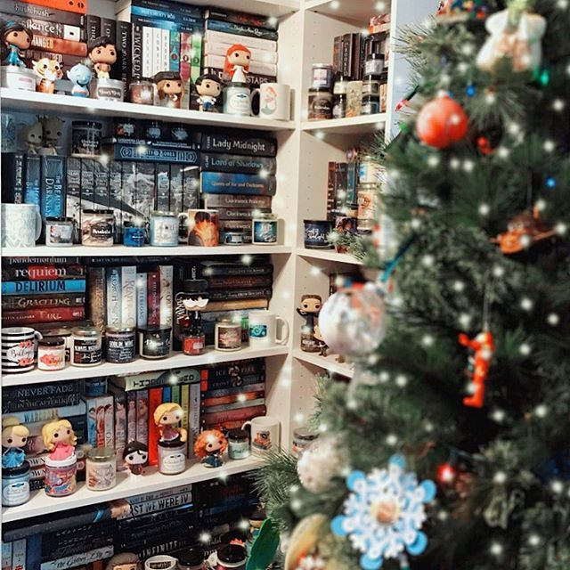 Happy Sunday Bookworms! What are your plans today? . . The kids and I will be cleaning up their rooms to make room for any new goodies that Santa brings! Wish me luck… Im going to need it! I hope you enjoy my holiday #shelfiesunday I love having my Christmas tree right by my bookshelves! It makes my bookworm heart so happy! Our tree is filled with ornaments that my little ones have been collecting over the years. Every year they get a new ornament for the tree in their stocking! This year my daughters is Harry Potter and my sons is Minecraft. Our tree also has lots of homemade ornaments and those are my favorite especially the photo ones! . #lilbookishcheer18 – . #jinglebookrock – under the Christmas tree . #bookishholidays18 – shelfie Sunday . #ampersand2018 – bookshelf . #sundayshelfie #shelfie #bookshelves #christmasaesthetic #holidayvibes #christmasfeels #christmastree #bokeh #bookstagram #shelfies #readersofinstagram #mybookfeatures #christmastime