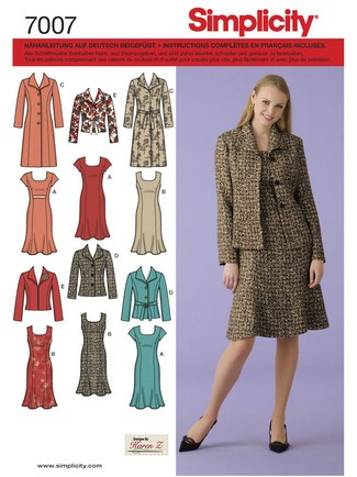 Schnittmuster: Kombination Mantel-Blazer-Kleid - Simplicity 7007