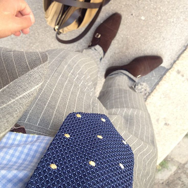 Light grey pinstripe suit and brown suede monk strap shoes. Beautiful!!!