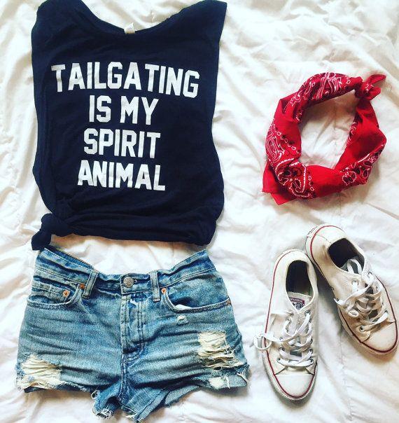 Tailgating Is My Spirit Animal-black tank top