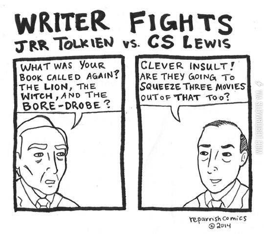 JRR Tolkien vs. CS Lewis.