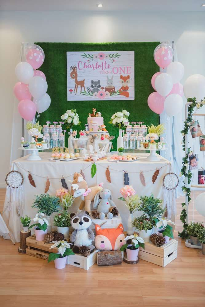 Rustic Woodland Theme Birthday Party Ideas In 2019 1st Birthday