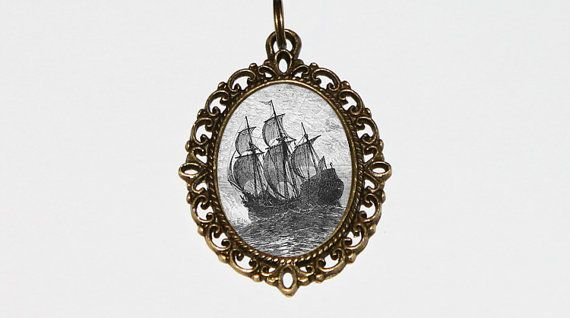Pirate Ship Necklace Pirate Jewelry Pirates Oval by TheGoblinCave
